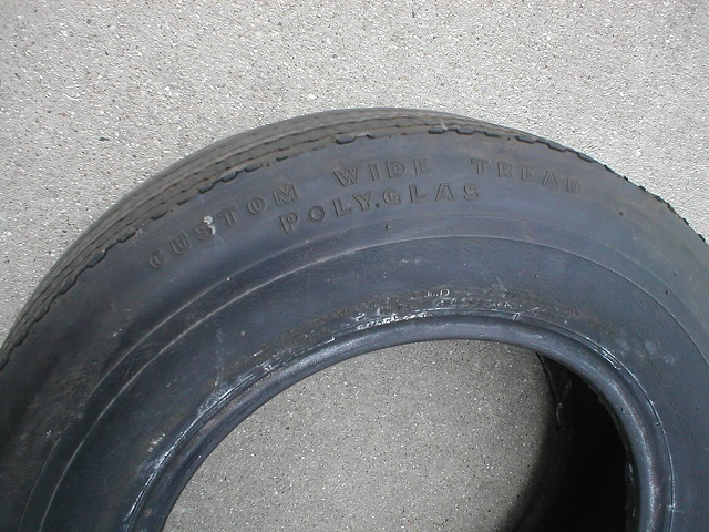 the third tire used was a goodyear custom wide tread polyglas it is also an e70x15 this tire is a black sidewall tire with no white lettering